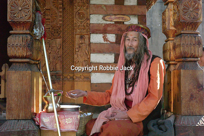 A sadhu from Thailand at the temple in Vashisht.Kullu Valley, Himachal Pradesh, India.