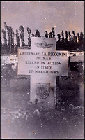 BNPS.co.uk (01202 558833)Pic: C&amp;TAuctions/BNPS<br /> <br /> A photograph showing Lieutenant Riccomini's grave.<br /> <br /> The remarkable story of an SAS hero who escaped captivity by jumping out of a moving train and carried out daring raids behind enemy lines before he was killed storming a German stronghold can be told after his bravery medals emerged for sale.<br /> <br /> After escaping his German captors, Lieutenant James Riccomini MBE spent four months assisting Italian resistance fighters with ammunition drops and intelligence gathering before scaling the Alps to reach neutral Switzerland when his cover was blown.<br /> <br /> Ten months later, he was dropped behind enemy lines and led a fearless ambush of a German armoured column before he was killed in action heading up an assault during the legendary Operation Tombola.<br /> <br /> His MBE, Military Cross and other medals along with letters he wrote to his wife, documents and photos are tipped to sell for &pound;12,000.