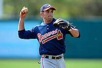 Atlanta Braves infielder Jose Peraza #30 during practice before a minor league Spring Training game against the Baltimore Orioles at Al Lang Field on March 13, 2013 in St. Petersburg, Florida.  (Mike Janes/Four Seam Images)