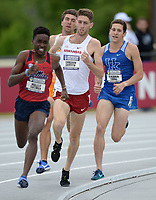 NWA Democrat-Gazette/ANDY SHUPE<br /> Arkansas' Cameron Griffith trails Waleed Suliman of Ole Miss (left) as he competes Saturday, May 11, 2019, in the 1,500 meters during the SEC Outdoor Track and Field Championships at John McDonnell Field in Fayetteville. Visit nwadg.com/photos to see more photographs from the meet.