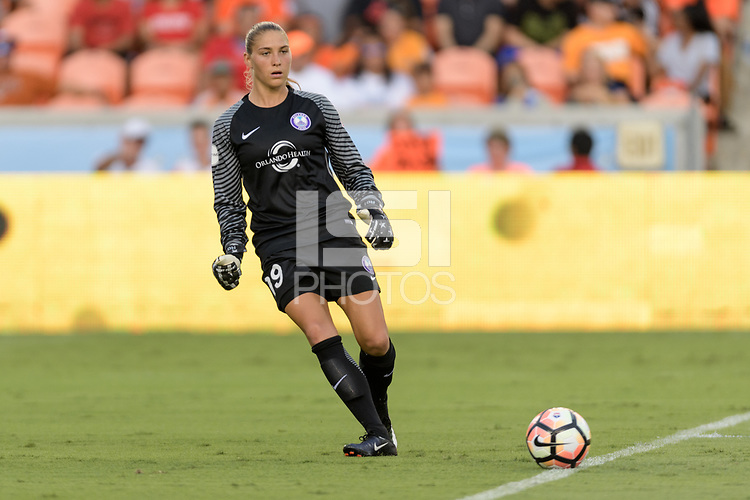 Houston, TX - Saturday June 17, 2017: Aubrey Bledsoe clears the ball from her goal during a regular season National Women's Soccer League (NWSL) match between the Houston Dash and the Orlando Pride at BBVA Compass Stadium.