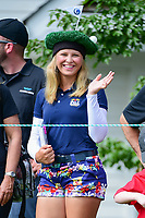 An avid golf fan with a &quot;green&quot; hat awaits the next tee time on 1 during Saturday's third round of the 72nd U.S. Women's Open Championship, at Trump National Golf Club, Bedminster, New Jersey. 7/15/2017.<br /> Picture: Golffile | Ken Murray<br /> <br /> <br /> All photo usage must carry mandatory copyright credit (&copy; Golffile | Ken Murray)