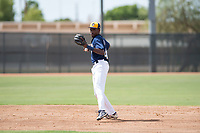 Milwaukee Brewers shortstop Korry Howell (40) prepares to make a throw to first base during an Instructional League game against the Los Angeles Dodgers at Maryvale Baseball Park on September 24, 2018 in Phoenix, Arizona. (Zachary Lucy/Four Seam Images)
