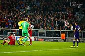 September 12th 2017, Munich, Germany, Champions League football, Bayern Munich versus Anderlecht;  penalty and red card for Sven Kums midfielder of RSC Anderlecht and Robert Lewandowski of Bayern Munchen