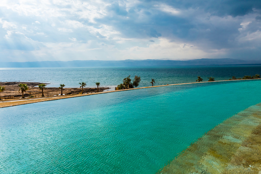Infinity pool, Kempinski Hotel Ishtar (the lowest point on Earth), Dead Sea, Jordan.