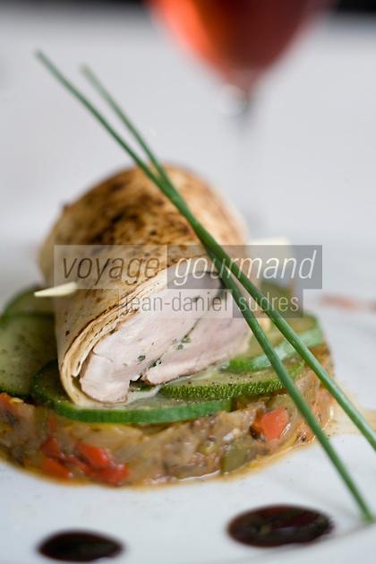 """Europe/France/Aquitaine/40/Landes/ Parentis : Filet de porc noir gascon en croute d'herbe  et tian de légume ,recette de Florent Carle du restaurant """"Chez Flo"""""""