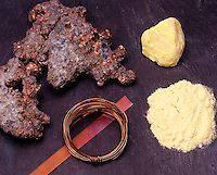 PHYSICAL PROPERTIES COMPARED: COPPER &amp; SULFUR<br /> Transition Metal Copper &amp; Non-Metal Sulfur<br /> Elemental copper ore (left) is malleable (thin sheet) &amp; ductile (wire). A sulfur lump easily becomes powder when crushed.