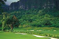 Koolau golf course, hole #18, beneath the pali lookout in Kailua, Windward Oahu. Architects: Dick Nugent and Jack Tuthill
