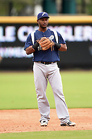 Pensacola Blue Wahoos third baseman Juan Silverio (18) during a game against the Jacksonville Suns on April 20, 2014 at Bragan Field in Jacksonville, Florida.  Jacksonville defeated Pensacola 5-4.  (Mike Janes/Four Seam Images)