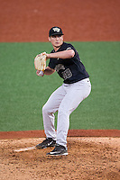 Wake Forest Demon Deacons relief pitcher Garrett Kelly (28) in action against the Charlotte 49ers at Hayes Stadium on March 16, 2016 in Charlotte, North Carolina.  The 49ers defeated the Demon Deacons 7-6.  (Brian Westerholt/Four Seam Images)