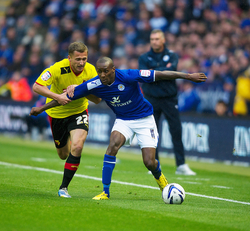 Leicester City's Lloyd Dyer shields the ball from Watford's Almen Abdi .. - (Photo by Stephen White/CameraSport) - ..Football - npower Football League Championship Play-Offs Semi-Final First Leg - Leicester City v Watford - Thursday 9th May 2013 - King Power Stadium - Leicester..© CameraSport - 43 Linden Ave. Countesthorpe. Leicester. England. LE8 5PG - Tel: +44 (0) 116 277 4147 - admin@camerasport.com - www.camerasport.com