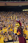 ASU mascot Sparky leads the crowd in a cheer during a game against Portland State at Sun Devil Stadium in Tempe, Arizona.  The Sun Devils defeated Vikings 54-9.
