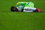 14.01.2018, Signal Iduna Park, Dortmund, GER, 1.FBL, Borussia Dortmund vs VfL Wolfsburg, <br /> <br /> im Bild | picture shows:<br /> Divock Origi (VfL Wolfsburg #14) bleibt nach Foulspiel von Oemer Toprak (Borussia Dortmund #36) am Boden, <br /> <br /> Foto &copy; nordphoto / Rauch