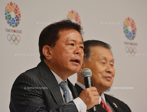 September 10, 2013, Tokyo, Japan - Gov. Naoki Inose, left, of Tokyo speaks at a news conference at the City Hall Tuesday night, September 10, 2013, upon his triumphant return to the nation's capital from Buenos Aires, Argentina, after winning its bid to host the summer Olympics in 2020. (Photo by Natsuki Sakai/AFLO)