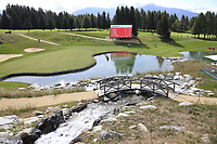 The 13th green during Thursday's Round 1 of the 2017 Omega European Masters held at Golf Club Crans-Sur-Sierre, Crans Montana, Switzerland. 7th September 2017.<br /> Picture: Eoin Clarke | Golffile<br /> <br /> <br /> All photos usage must carry mandatory copyright credit (&copy; Golffile | Eoin Clarke)