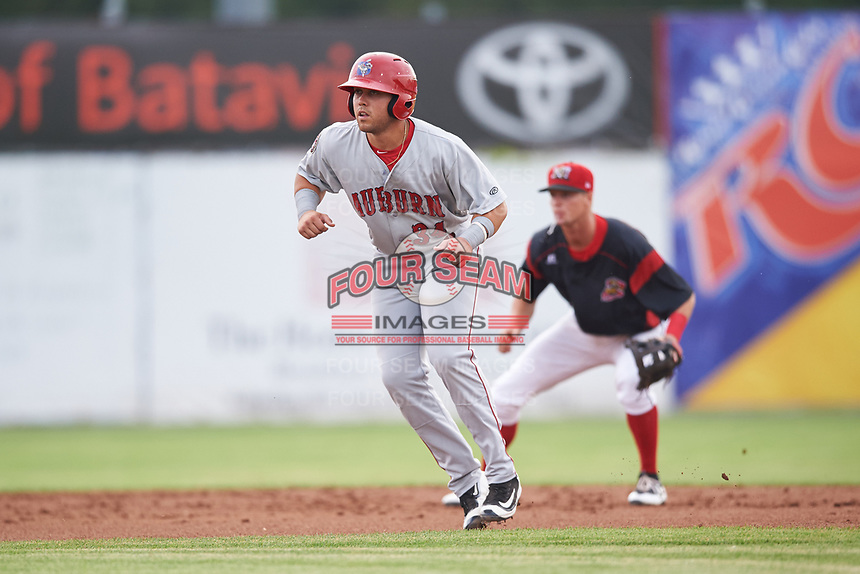 Auburn Doubledays first baseman Jake Scudder (34) leads off second base in front of shortstop Micah Brown (55) during a game against the Batavia Muckdogs on July 6, 2017 at Dwyer Stadium in Batavia, New York.  Auburn defeated Batavia 4-3.  (Mike Janes/Four Seam Images)