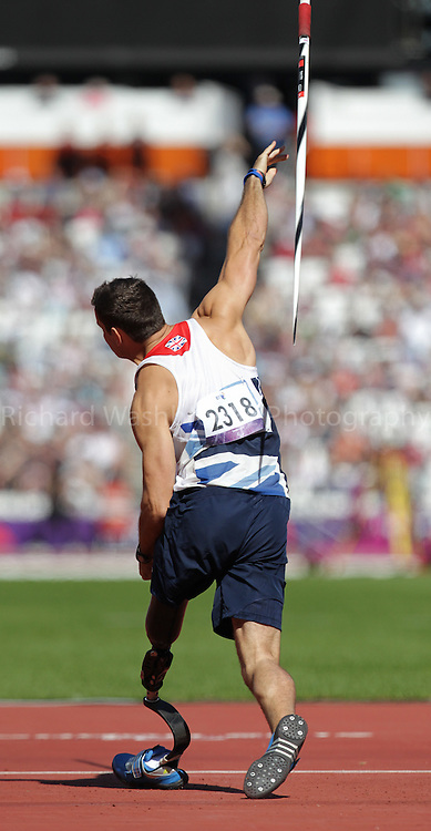 Paralympics London 2012 - ParalympicsGB - Athletics Men's Javelin Throw - F42 Final held at the Olympic Stadium  7th September 2012..Scott Moorhouse competing in the Men's Javelin Throw - F42 Final held at the Olympic Stadium  7th September 2012 at the Paralympic Games in London. Photo: Richard Washbrooke/ParalympicsGB