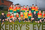 The St Finian's team who defeated St Mary's/Renard in the South Kerry Minor Championship held in Chapletown, Valentia on St Stephens Day were front l-r; Paul Lynch, Michael O'Connor, Ciaran O'Donoghue, Morgan O'Donoghue, Michael Keating(Captain), Paudie O'Sullivan, Andy Quigley, Anthony Casey, Kevin O'Sullivan, Padraig McGillicuddy, back l-r; Damien Murphy, Ciaran Keating, Paul Lynch, Eoin O'Sullivan, Arron Quigley, Paul Curtin, Ronan O'Shea, Diarmuid Keating, Brian Murphy, Arron O'Shea, John Lynch & Joe Murphy.
