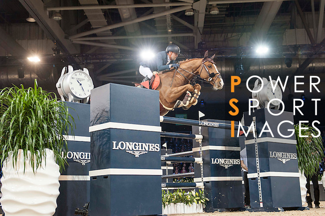 Henrik von Eckermann of Sweden riding Yajamila during the Hong Kong Jockey Club Trophy competition, part of the Longines Masters of Hong Kong on 10 February 2017 at the Asia World Expo in Hong Kong, China. Photo by Marcio Rodrigo Machado / Power Sport Images
