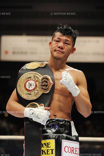Koki Kameda (JPN),.APRIL 7, 2013 - Boxing :.Koki Kameda of Japan looks dejected as he poses with his champion belt after the WBA bantamweight title bout at Bodymaker Colosseum (Osaka Prefectural Gymnasium) in Osaka, Japan. (Photo by Mikio Nakai/AFLO)