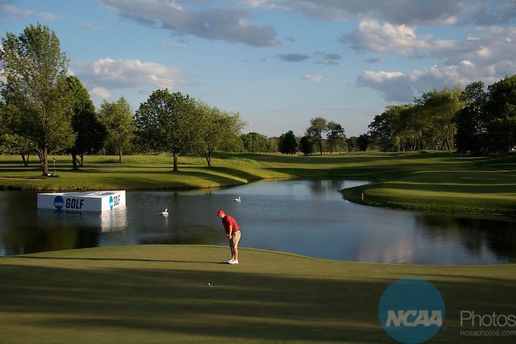 SUGAR GROVE, IL - MAY 29: Braden Thornberry of Ole Miss putts during the Division I Men's Golf Individual Championship held at Rich Harvest Farms on May 29, 2017 in Sugar Grove, Illinois. Thornberry won the individual national title with a -11 score. (Photo by Jamie Schwaberow/NCAA Photos via Getty Images)