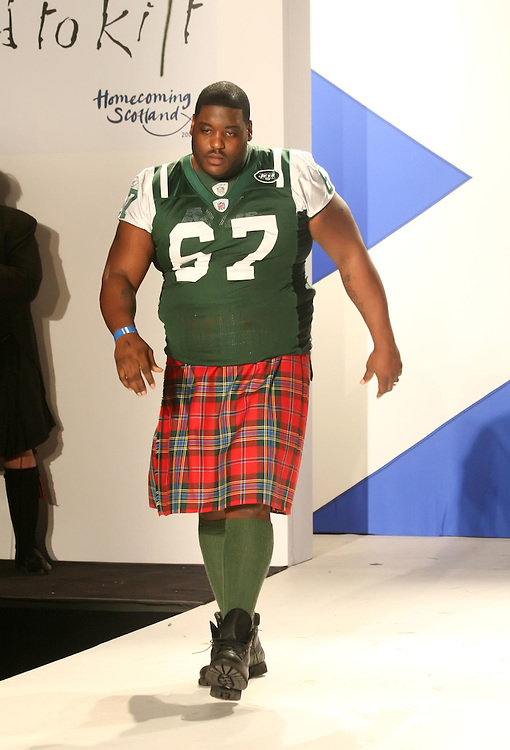 NEW YORK - MARCH 30:  Damien Woody walks the runway during the 2009 Dressed to Kilt at M2 Club March 30, 2009 in New York City. (Photo by Donald Bowers)