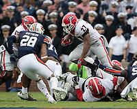 Auburn, AL - November 11, 2017: The number 10 ranked Auburn Tigers host the number 1 ranked Georgia Bulldogs at Jordan-Hare Stadium.  Final score Auburn 40, Georgia 17.