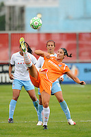 Yael Averbuch (10) of Sky Blue FC plays the ball during a Women's Professional Soccer match against the Chicago Red Stars at Yurcak Field in Piscataway, NJ, on June 17, 2009.