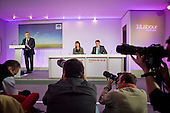 Gordon Brown, Harriet Harman, Peter Mandelson, Labour Party election campaign press conference, London.
