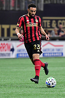 ATLANTA, GA - MARCH 07: ATLANTA, GA - MARCH 07: Atlanta United wingback Jake Mulraney runs down the ball during the match against FC Cincinnati, which Atlanta won, 2-1, in front of a crowd of 69,301 at Mercedes-Benz Stadium during a game between FC Cincinnati and Atlanta United FC at Mercedes-Benz Stadium on March 07, 2020 in Atlanta, Georgia.