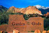 Entrance sign for the Garden of the Gods park in Colorado Springs, Colorado
