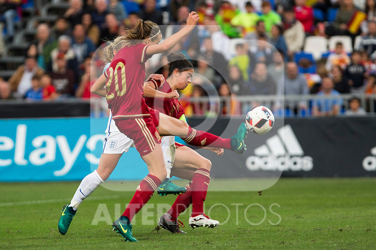 Spain's Irene Paredes Marta Torrejon during the frendly match between woman teams of  Spain and England at Fernando Escartin Stadium in Guadalajara, Spain. October 25, 2016. (ALTERPHOTOS/Rodrigo Jimenez)