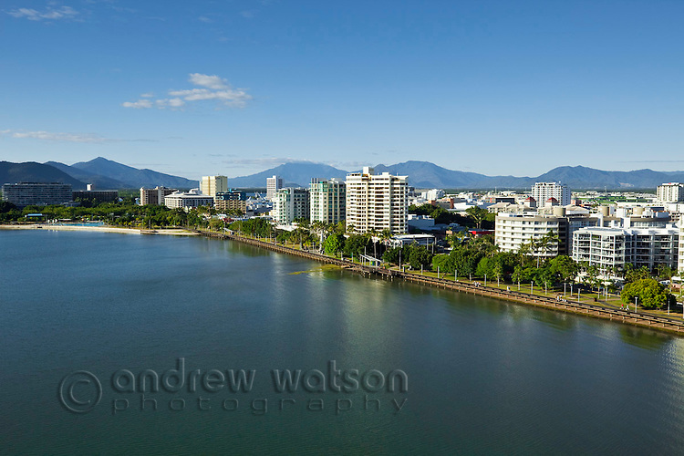 Aerial view along Esplanade to city centre.  Cairns, Queensland, Australia