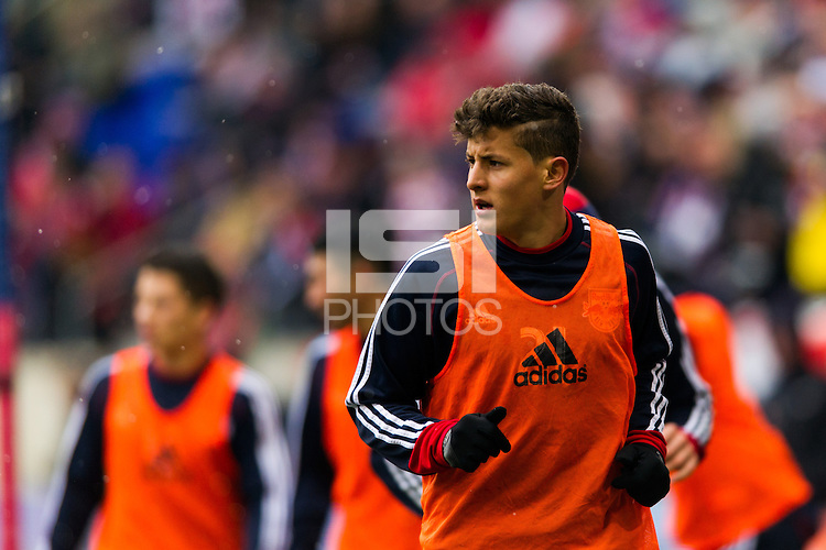 Ruben Bover (21) of the New York Red Bulls. The New York Red Bulls and D. C. United played to a 0-0 tie during a Major League Soccer (MLS) match at Red Bull Arena in Harrison, NJ, on March 16, 2013.