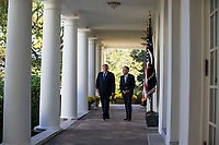 President of the United States Donald J. Trump and his nominee for United States Federal Reserve Chairman Jerome Powell walk along the West Wing colonnade as they prepare to speak with reporters in the Rose Garden at the White House in Washington, D.C. on November 2nd, 2017. Credit: Alex Edelman / CNP /MediaPunch