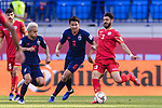 Thitipan Puangjan of Thailand (2nd L) fights for the ball with Waleed Mohamed Alhayam of Bahrain (R) during the AFC Asian Cup UAE 2019 Group A match between Bahrain (BHR) and Thailand (THA) at Al Maktoum Stadium on 10 January 2019 in Dubai, United Arab Emirates. Photo by Marcio Rodrigo Machado / Power Sport Images