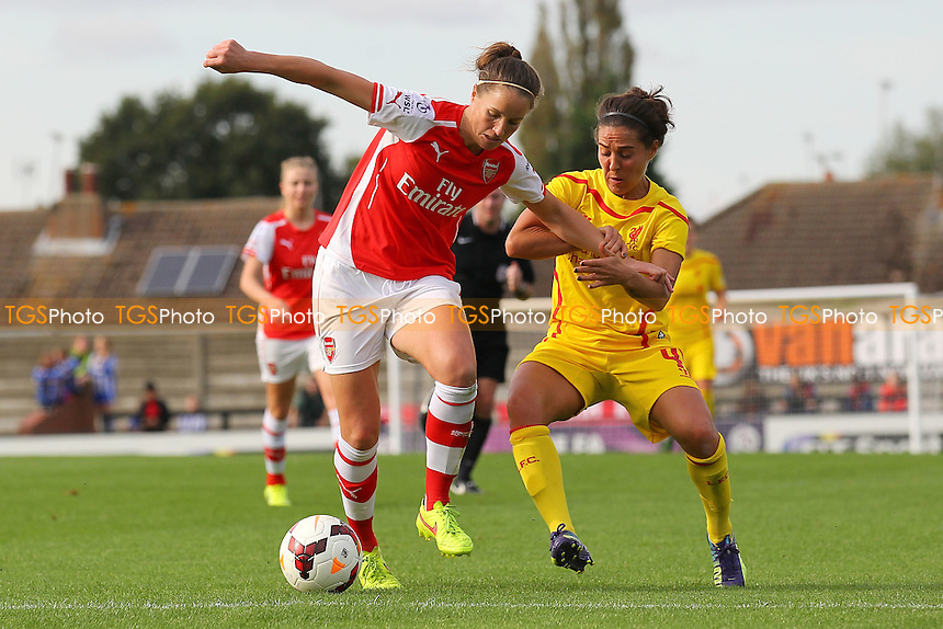Casey Stoney of Arsenal Ladies and Fara Williams of Liverpool Ladies - Arsenal Ladies vs Liverpool Ladies - FA Womens Super League Football at Meadow Park, Boreham Wood FC  - 05/10/14 - MANDATORY CREDIT: Gavin Ellis/TGSPHOTO - Self billing applies where appropriate - contact@tgsphoto.co.uk - NO UNPAID USE