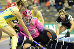 Berlin, Germany, February 09: During the FIH Indoor Hockey World Cup Pool B group match between Germany (black) and Australia (yellow) on February 9, 2018 at Max-Schmeling-Halle in Berlin, Germany. Final score 2-2. (Photo by Dirk Markgraf / www.265-images.com) *** Local caption *** Julia CIUPKA #20 of Germany