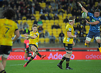 Hurricanes' Jordie Barrett clears under pressure during the Super Rugby Aotearoa match between the Hurricanes and Blues at Sky Stadium in Wellington, New Zealand on Saturday, 18 July 2020. Photo: Dave Lintott / lintottphoto.co.nz