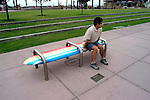 California, San Diego.  Surf board bench at Imperial Beach Pier.  Photo #: casand108.  Photo copyright Lee Foster, 510/549-2202, lee@fostertravel.com, www.fostertravel.com