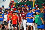 2 July 2011: Members of the Burlington American Little League stand on the sidelines prior to a game between the Vermont Lake Monsters and the Tri-City ValleyCats at Centennial Field in Burlington, Vermont. The Lake Monsters rallied from a 4-2 deficit to defeat the ValletCats 7-4 in NY Penn League action. Mandatory Credit: Ed Wolfstein Photo