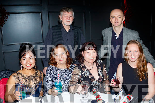 seated L-R Arlene Mahony, Julia Byrne, Loretto O'Sullivan and Sandra Byrne, back L-R Brian Byrne and Martin O'Sullivan at the Born to run Xmas party in the Ashe hotel, Tralee last Friday night.
