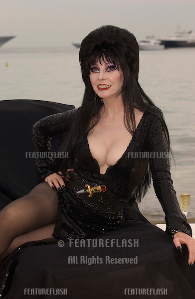 Actress ELVIRA (CASSANDRA PETERSON) at photocall at the Cannes Film Festival for her new movie Elvira's Haunted Hills..17MAY2003