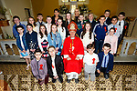 The pupils from Castlemaine NS with Bishop Ray Browne with class teacher Deirdre Quirke and SNA Yvonne O Connor at their Confirmation in Keel on Thursday