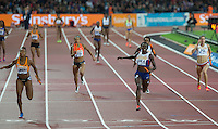 Desiree Henry of (GBR A) finishes in 3rd behind 2nd placed Jamie Samuel (NED) during the Sainsburys Anniversary Games at the Olympic Park, London, England on 24 July 2015. Photo by Andy Rowland.