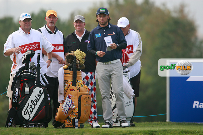 Martin Wiegele (AUT), John Daly (USA) on the 3rd tee during Thursday's Round 1 of the Austrian Open presented by Lyoness at the Diamond Country Club, Atzenbrugg, Austria, 22nd September 2011 (Photo Eoin Clarke/www.golffile.ie)