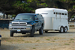 Dodge towing horse trailer in Crescent City California