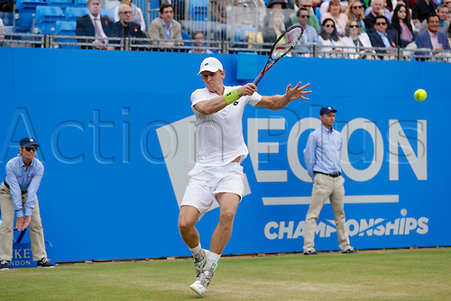 20.06.2015.  London, England. Queens Aegon Championship Tennis.  Gilles Simon (FRA) versus Kevin Anderson (RSA), Semi-Final match.  Kevin Anderson in action