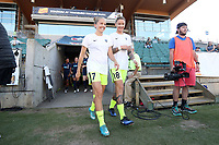 Cary, North Carolina  - Saturday August 05, 2017: Elli Reed and Larissa Crummer prior to a regular season National Women's Soccer League (NWSL) match between the North Carolina Courage and the Seattle Reign FC at Sahlen's Stadium at WakeMed Soccer Park. The Courage won the game 1-0.