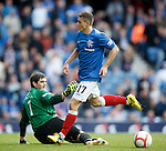 Fraser Aird and keeper David Crawford after Fran Sandaza is hauled down
